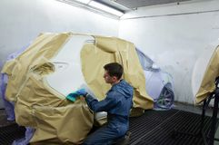 Car paint preparation. Royalty Free Stock Photo