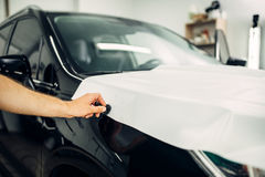 Car paint protection film installation Stock Photography
