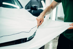 Car paint protection, protect coating installation Stock Photos