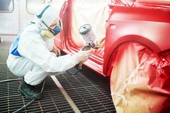 Car painting in chamber Royalty Free Stock Photos