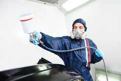 Car painting in chamber Royalty Free Stock Photo