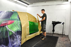 Car painting preparation.. Royalty Free Stock Photos