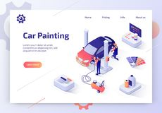 Car Painting Service Isometric Vector Website vector illustration