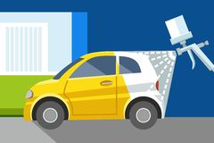 Car painting spray gun, yellow, car, white car, color illustration. Royalty Free Stock Images