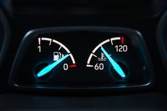 Car panel with fuel level and temperature arrows. Car panel with fuel level and temperature arrow Royalty Free Stock Photos