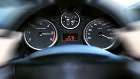 Car panel instrument speedometer and tachometer. (shallow dof Stock Photos