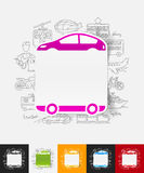 Car paper sticker with hand drawn elements Royalty Free Stock Photo