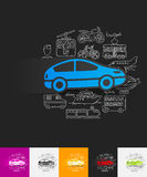 Car paper sticker with hand drawn elements Stock Photos
