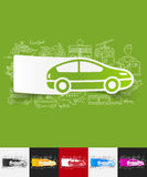 Car paper sticker with hand drawn elements Royalty Free Stock Photos