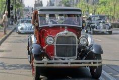 Car parade. Classic car parade, Reforma avenue, Mexico City stock photos