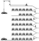 Car park. Representation of cars parked in a milti storey car park Vector Illustration