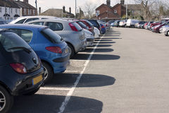 Car park. Full car park in the uk, with row of cars royalty free stock photo
