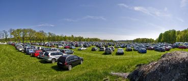 Car park. Big car park in field royalty free stock images