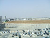 Car park in an airport. watch tower. airport. aircrafts Royalty Free Stock Photo