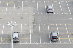 Car park bays. Cars parked in bays of a car parking lot Royalty Free Stock Images