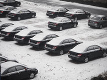 Car park covering by snow. Car park covering by snow in winter season Royalty Free Stock Photography