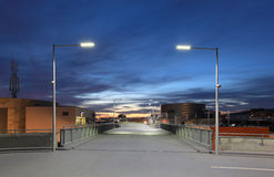 Car park at dusk Royalty Free Stock Photo