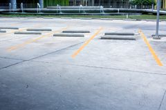 Car park empty.outdoor of parking garage with car and vacant parking lot in parking building. Some carpark empty in Condominium or department store stock images