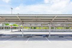 Car park. Empty car park with roof truss and asphalt floor Royalty Free Stock Photography