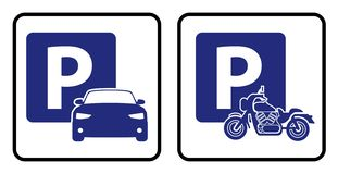 Car park icon and Bike park board royalty free illustration