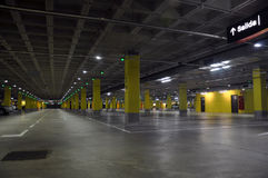 Car park lot. Almost empty car park lot below a mall Royalty Free Stock Photo