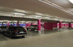 The car park in the Mall of Scandinavia. Mall of Scandinavia is a mall located next to the Friends Arena, Arena City in Solna. Mall of Scandinavia is Sweden's Stock Image
