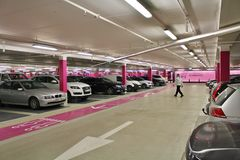 The car park in the Mall of Scandinavia. Mall of Scandinavia is a mall located next to the Friends Arena, Arena City in Solna. Mall of Scandinavia is Sweden's Royalty Free Stock Image