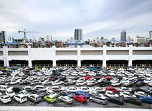 The car park at Mo Chit BTS Station, one of the busiest stations, puts you at the doorstep of Ch. Bangkok , thailand : june 8,2017 The car park at Mo Chit BTS stock photos