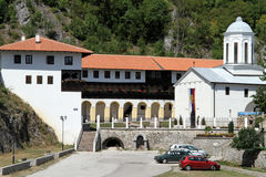 Car park and monastery Stock Images