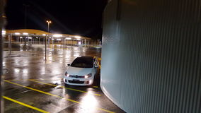 Car park at night. Looking down up high in a supermarket carpark at night Stock Photography