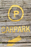 Car park old wooden sign Stock Photos