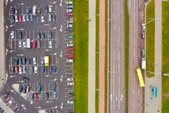 Car park problem in big cities. Aerial view stock images