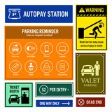 Car Park Reminder and Information Signboards. A set of signboards for car park reminder and other important information. They are autopay station, boom gate Stock Images