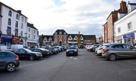 Car park and shops. Banbury, United Kingdom - November 29 2017: Market place car park and surrounding shops stock photos