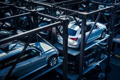 Car park, stacked parking garage in New York City. Royalty Free Stock Photos