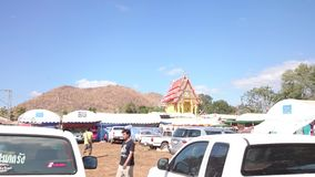 Car park of temple fair of suphanburi province, thailand in 2015 stock video footage