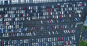 Car park and truck. In aerial view stock video