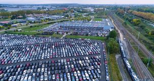 Car park and truck. In aerial view stock footage