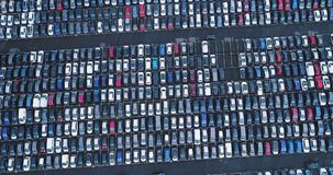 Car park and truck. In aerial view stock video footage