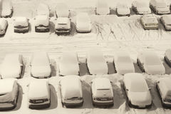 Car park under snow Royalty Free Stock Images