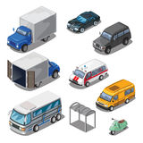 Car park with various transport, vector icons set vector illustration