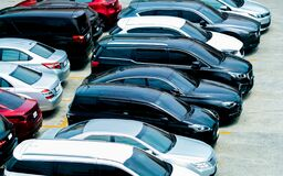 Free Car Parked At Parking Lot Of The Airport For Rental. Aerial View Of Car Parking Lot Of The Airport. Used Luxury Car For Sale And Royalty Free Stock Image - 215134446