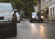Car is parked in bad weather Royalty Free Stock Photo