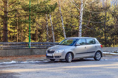 Car parked on a country lane Royalty Free Stock Photos