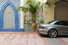 Car parked decorative wall Royalty Free Stock Photo