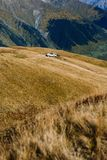 Car parked high in the mountains royalty free stock images
