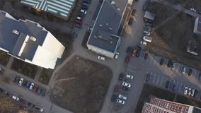 Car parked near the house. Aerial photography.  stock video