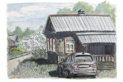 The car is parked near the village house. Summer landscape. vector illustration