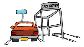 Car parked next to a cart return. An image of a car parked next to a cart return Royalty Free Stock Photography