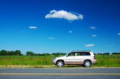Car Parked in the Rural Countryside Stock Photography